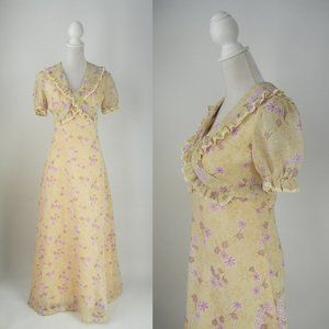 Vintage 1970 Cream & Purple Floral Maxi Dress
